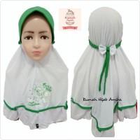 Jilbab Anak Sekolah Pita Karet Hijab dan Kuda Poni Putih Hijau