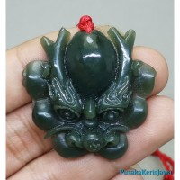 Liontin Pendant Batu Giok Tali Merah Ukir Kepala Naga Dragon Jade Asli