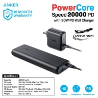 Powerbank Anker Powercore Speed 20000 PD & 30W PD Wall Charger - B1275