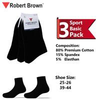 Kaos Kaki Sport Pria Robert Brown Katun Tebal 3 Pack 4237 Black