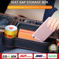 Storage Box Car Organizer Seat Gap PU Case Pocket Car Seat Side Slit - Hitam-left