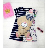 DRESS ANAK / DRESS IMPORT / BAJU ANAK / DRESS ANAK KOREA NAVY BEAR - 4