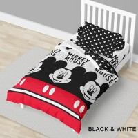 Bed Cover California - MICKEY BLACK & WHITE - Flat - 120x200 (Single)