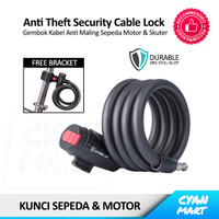 Gembok Sepeda Cable Lock Security Anti Maling Kunci Helm Motor Skuter - WHEEL UP 1.2M