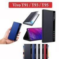 Vivo Y91 Y93 Y95 Leather Case Flipcover Digital View Stand Casing Case