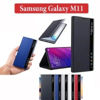 Samsung Galaxy M11 Leather Case Flipcover Digital View Stand Casing