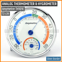 Anymetre TH101E Original, Analog Thermometer Hygrometer, 13 cm Silver