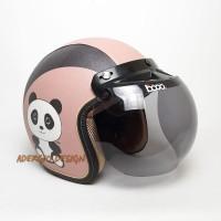 Helm Bogo SNI Karakter Panda Coksu Full Kulit Retro Klasik