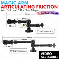 Magic Arm Articulating Friction 7 Inch & 11 Inch With BallHead Hotshoe