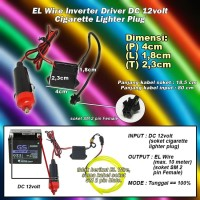 Driver Inverter EL Wire DC 12V Cigarette Lighter / Charger Mobil Plug