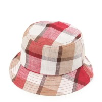 Urban State - Contrast Plaid Bucket Hat - Red