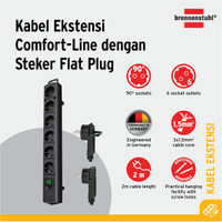 Comfort Line Plus Extension Socket with Flat Plug Brennenstuhl 6way 2m