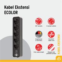 Stop Kontak Brennenstuhl Ecolor 5-Soket Hitam dengan Switch