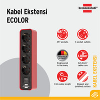 Stop Kontak Brennenstuhl Ecolor 4-Soket Merah/Hitam dengan Switch