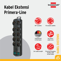 Primera-Line extension socket 10-way black 2m H05VV-F 3G1,5