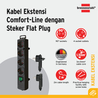 Comfort Line Plus Extension Flat Plug Brennenstuhl 4 Socket+Switch(2m)