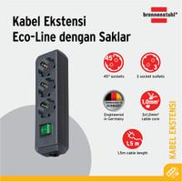 Brennenstuhl Eco-Line Stop Kontak dengan Switch 3-Soket Hitam 1,5m