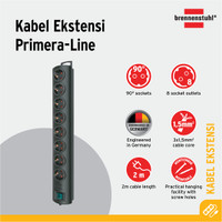 Primera-Line extension socket 8-way black 2m H05VV-F 3G1,5