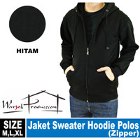 Jaket Sweater Hoodie Zipper poloss - Hitam, L