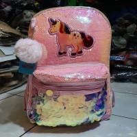 Tas Sekolah import Sequin/Usap Ransel Anak Perempuan Unicorn pink