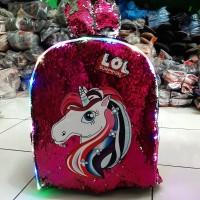 Tas Sekolah import Ransel Usap Anak Perempuan Unicorn LED Fanta