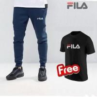 Celana Jogger Fila Panjang Free Kaos Distro/ Celana Training Gym.