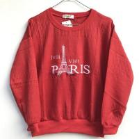 Baju Atasan Kaos Anak Bahan Rajut Impor Gambar Paris Usia 12-13 Tahun