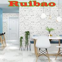 Perekat Wallpaper 3D Stiker Putih Bata Busa Dinding Kamar Tidur A2