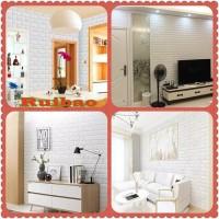 Wallpaper 3D Modern Foam Batu Bata 70 X 77 cm / Wall Sticker Putih