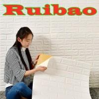 Perekat Wallpaper 3D Stiker Putih Bata Busa Dinding Kamar Tidur A1