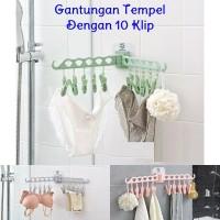 Gantungan Tempel 10Klip Jepit Tanpa Paku Hanger Clips Kaos Kaki Handuk
