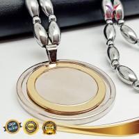 Kalung Gelang Magnet Oval Bola Liontin Titanium - VeE Kalung Kesehatan