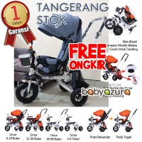 Sepeda stroller bayi roda tiga kanopy putar hadap depan belakang grey