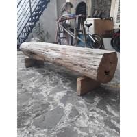 Bangku Kursi Taman Panjang Batang Pohon Kayu Jati Log Gelondongan