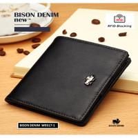 Dompet Pria Kulit Asli Bison Denim Original RFID Blocking Small Wallet