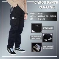 Celana cargo panjang original size s m l xl - Hitam, S
