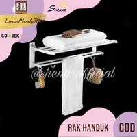 Rak Handuk Dinding toilet Aluminium size 60x21x16cm,SHENAR