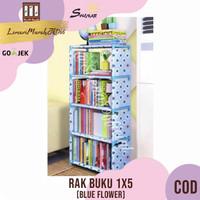 RAK BUKU 1X5 / RAK SERBAGUNA KARAKTER - BLUE FLOWER,SHENAR