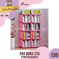 RAK BUKU 2X5 / RAK SERBAGUNA 2 SISI (85X30X125CM) KARAKTER-PINK,SHENAR