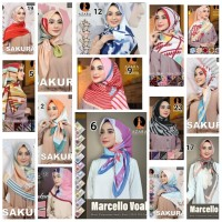 Hijab Kerudung Jilbab Segi Empat Katun Voal Motif AZARA Impor