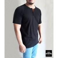 Baju Kaos Kancing Pria Henley Oblong Polos