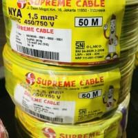 kabel listrik NYA 1.5 mm supreme 50 meter kuning list hijau