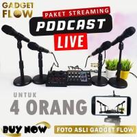 PAKET PODCAST Mic Dynamic 4 Orang Mixer 8 Channel Soundcard V8