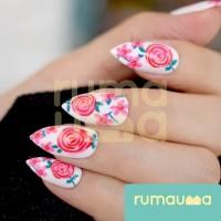 RUMAUMA Frosted Kuku Palsu Nails Art Flower Fake Nail Manicure Pesta