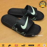 Sandal Slop Pria Wanita Flip Flop-Karet-Import-Black Flower Tosca