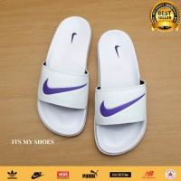 Sandal Slop Wanita-Benassi Flip Flop-Putih Ungu-Logo