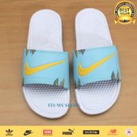 Sandal Slop Pria Wanita Flip Flop-Karet-Import-White Flower Tosca