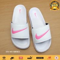 Sandal Slop Wanita-Benassi Flip Flop-Putih Pink-Logo