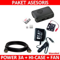 Paket Asesoris Raspberry Pi 3 High Power 3A + Casing Fan