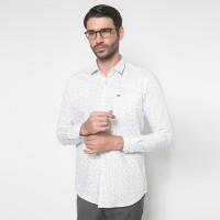 Slim Fit - Kemeja Formal - Warna Putih - Full Motif